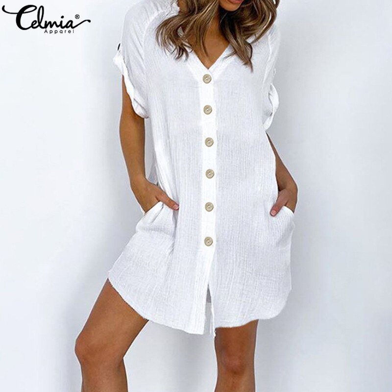 Celmia 5XL Vintage Shirt Dress Women Sexy V neck Short Sleeve Summer Sundress Casual Button Beach Robe Mini Vestidos Plus Size