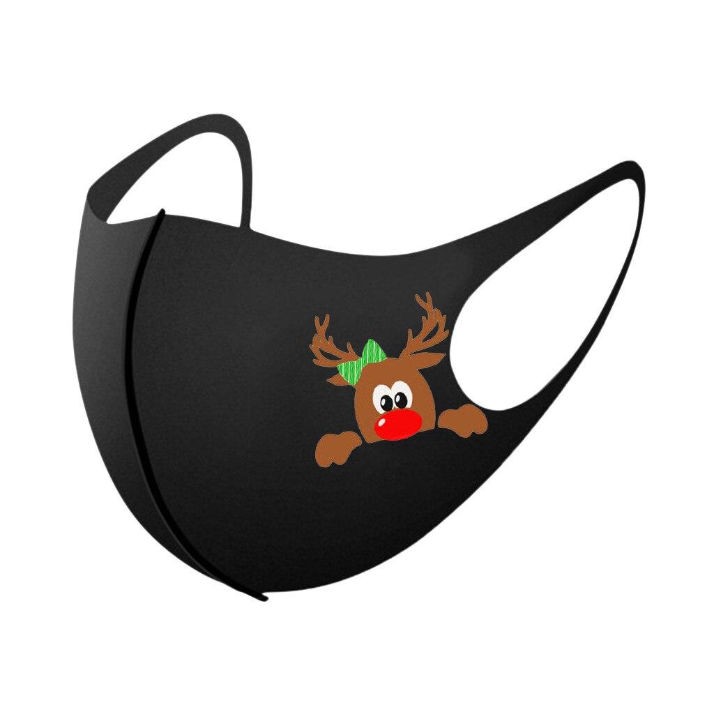 5/10/25PCS Adult Christmas Face Mask Washable Mouth Fabric Facial Mask For Protection Reusable Santa Earloop Mouth Caps Маска 1