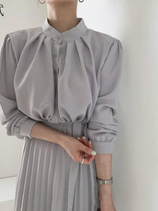Lengthy Sleeve Workplace Shirt Pleated Elegant
