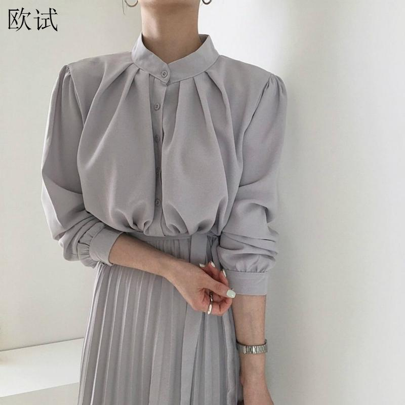 Long Sleeve Office Shirt Pleated Elegant Dress Women Vintage Ladies Dresses Korean Casual Woman Dress Vestidos Robe Femme 2020
