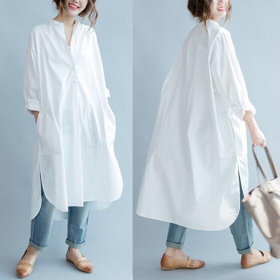 Women Dress Cotton Shirt Dress White Loose Plus Size Long Women Dresses Vintage Spring Summer Casual Wear Free Size New 2019 1