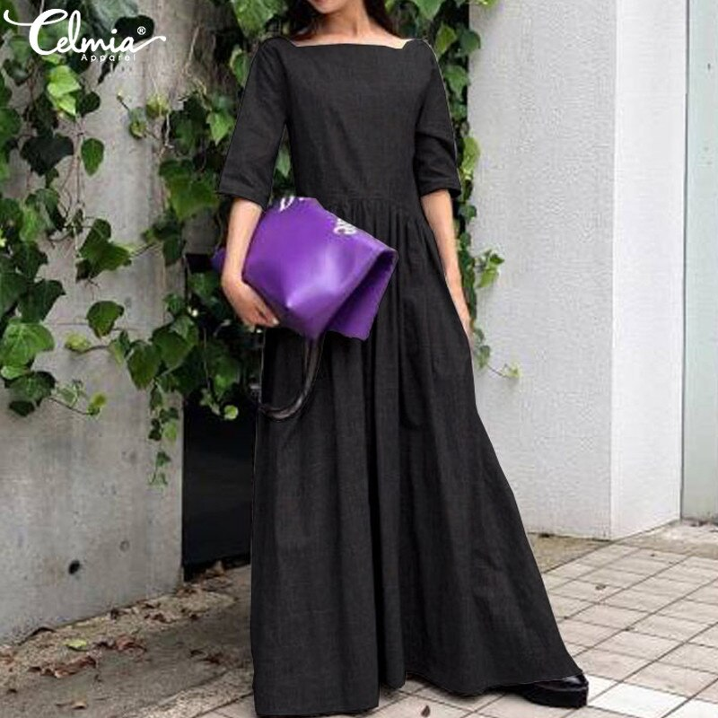 Celmia 2020 Women Vintage Long Ruffles Dress Summer Sundress Casual Solid Loose Half Sleeve Pleated Shirt Vestido Robe Plus Size 2