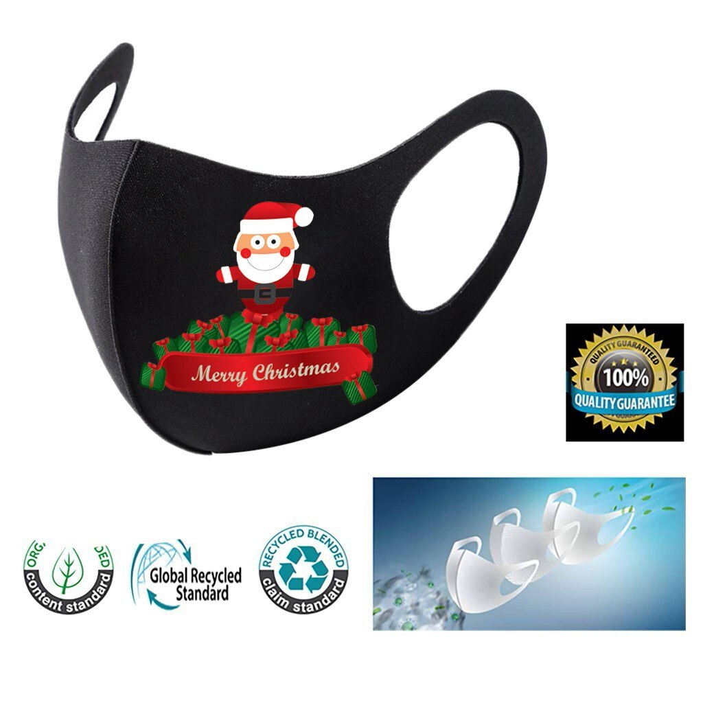 3pc Adult Christmas Face Mask Washable Mouth Fabric Facial Mask For Protection Reusable Santa Earloop Mouth Caps Masque Adulte 2