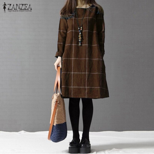 Winter Gown ZANZEA Trend Plaid Girls Lengthy Sleeve Cotton Linen