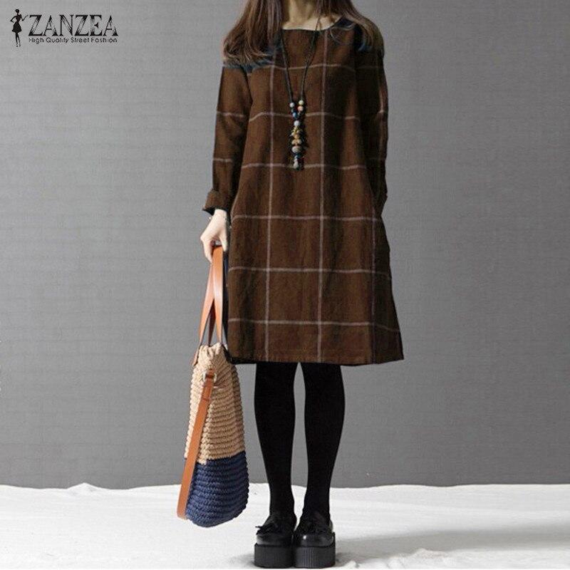 Winter Dress ZANZEA Fashion Plaid Women Long Sleeve Cotton Linen Dresses Casual Shirt Knee-length Vestidos Robe Mujer Plus Size