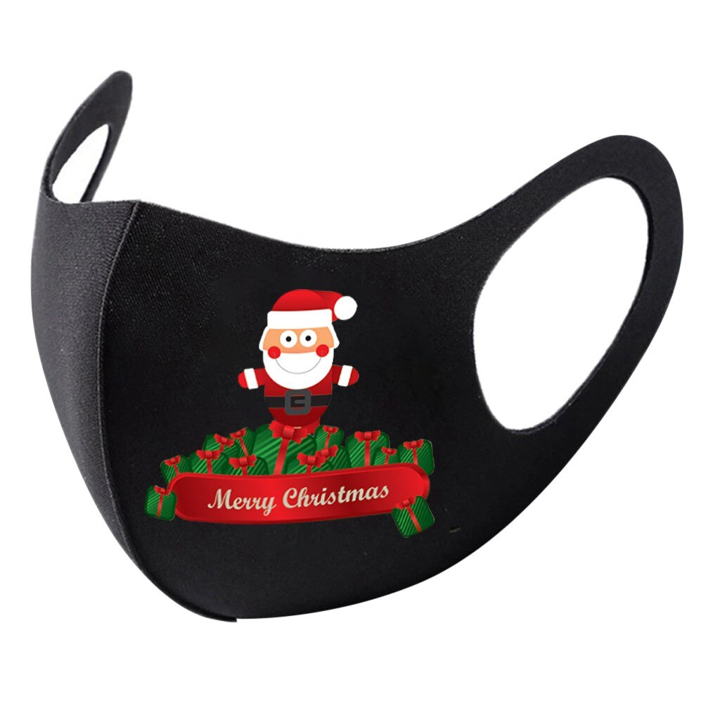 1pc Adult Christmas Face Mask Washable Mouth Fabric Facial Mask For Protection Reusable Santa Earloop Mouth Caps Маска Masques 2