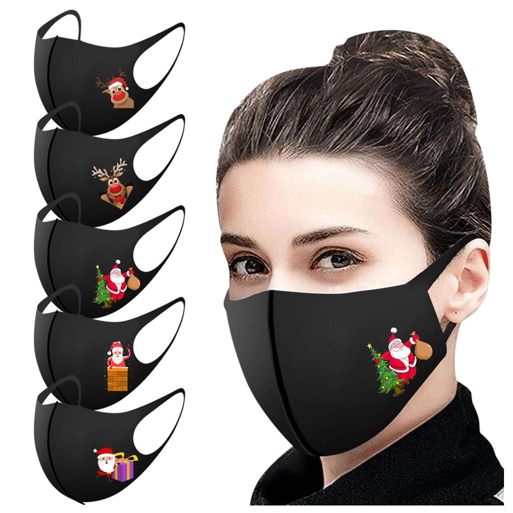 5pcs Adult Christmas Face Mask for Protection Washable Earloop Mouth Mask Reusable Protective маска многоразовая