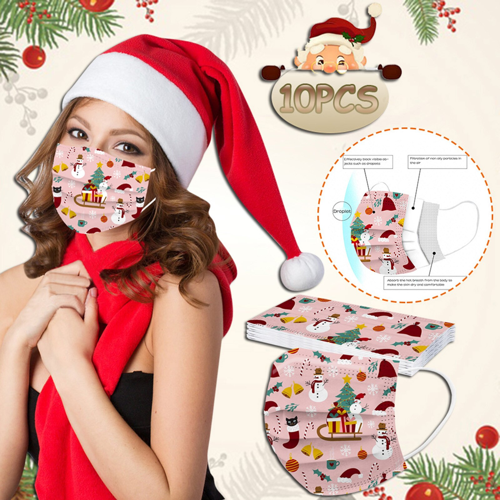 Mascarilla 10pcs Adult Woman Mask Disposable Christmas Face Mask Fashion Cartoon 3ply Earloop Mouth Caps Disposable Navidad
