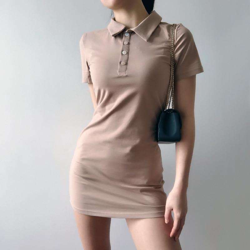 Women Mini Polo Shirt Dress Fitted Mini Dress 4
