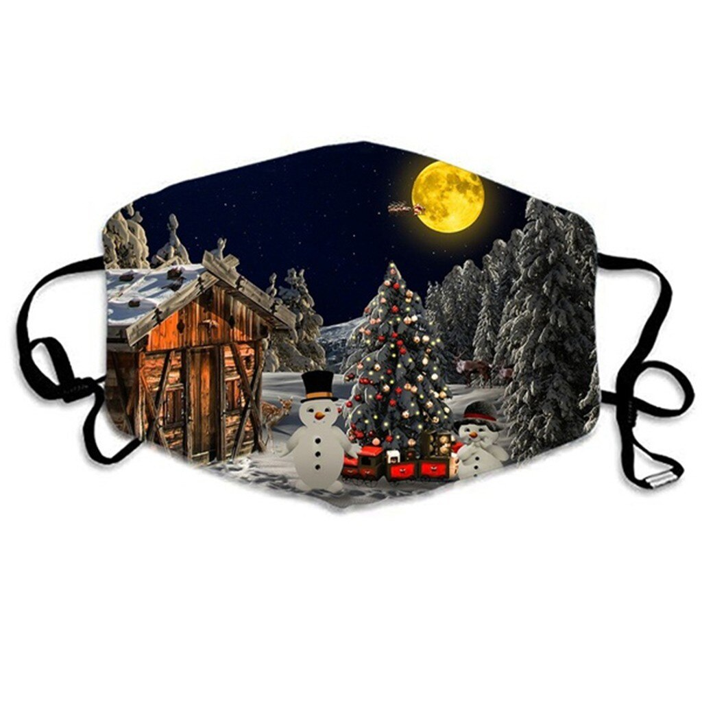 Merry Christmas Face Mask Adults Unisex Christmas Mask Mouth Cover Warm Windproof Cotton Face Mask Anti-dust Protective Masque 4