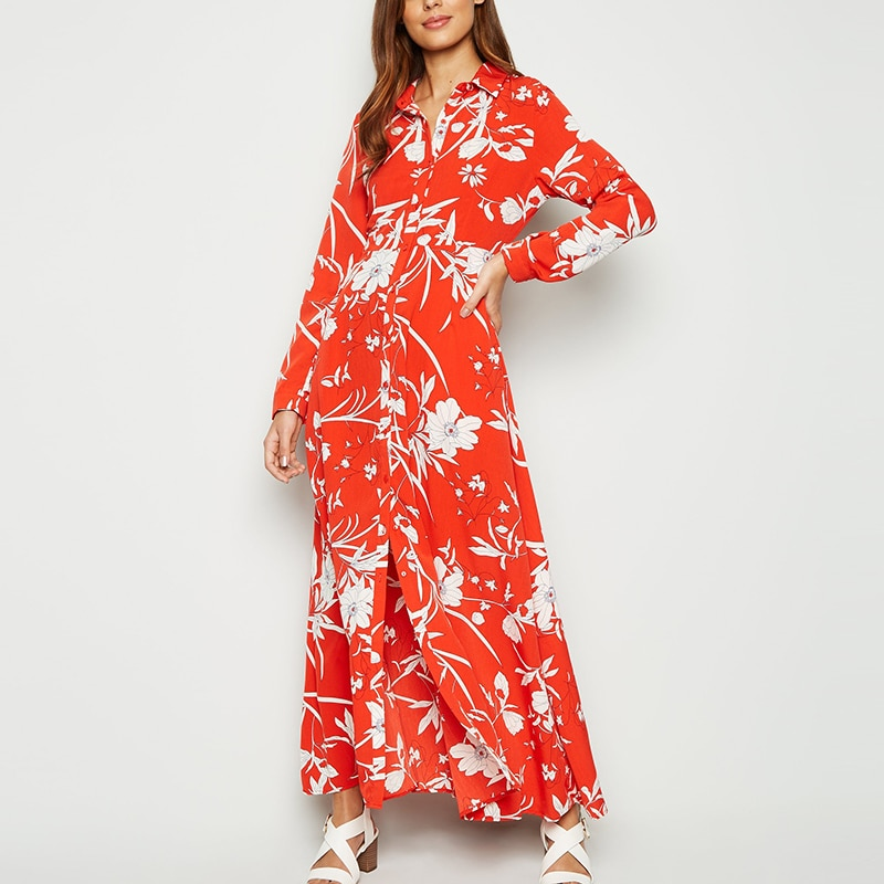 HiloRill 2020 Floral Print Long Women Dress Vintage Buttons Shirt Dress Elegant Turn Down Collar Ladies Office Split Dresses 4