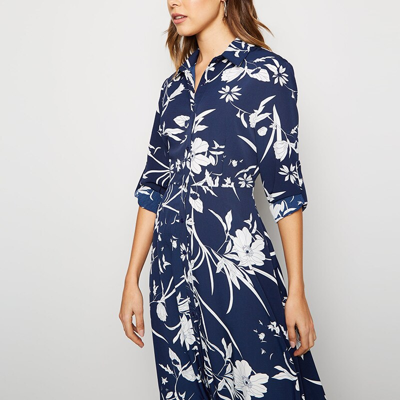 HiloRill 2020 Floral Print Long Women Dress Vintage Buttons Shirt Dress Elegant Turn Down Collar Ladies Office Split Dresses 3