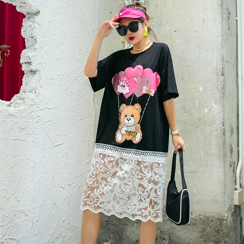 QING MO Loose Women Cartoon Dress With Beading Women Mesh Patchwork Dress Female Summer T Shirt Dress Black White ZQY4364 2