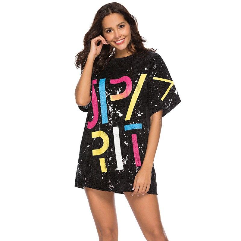 Woman Club Dresses 2019 Sequin T Shirt Dress Plus Size Loose Tee Shirts Glitter Tops Summer Dress Sequin tops