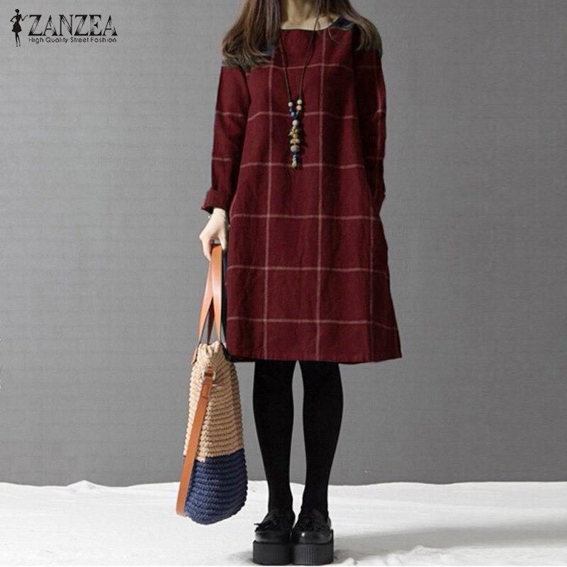 Winter Dress ZANZEA Fashion Plaid Women Long Sleeve Cotton Linen Dresses Casual Shirt Knee-length Vestidos Robe Mujer Plus Size 3