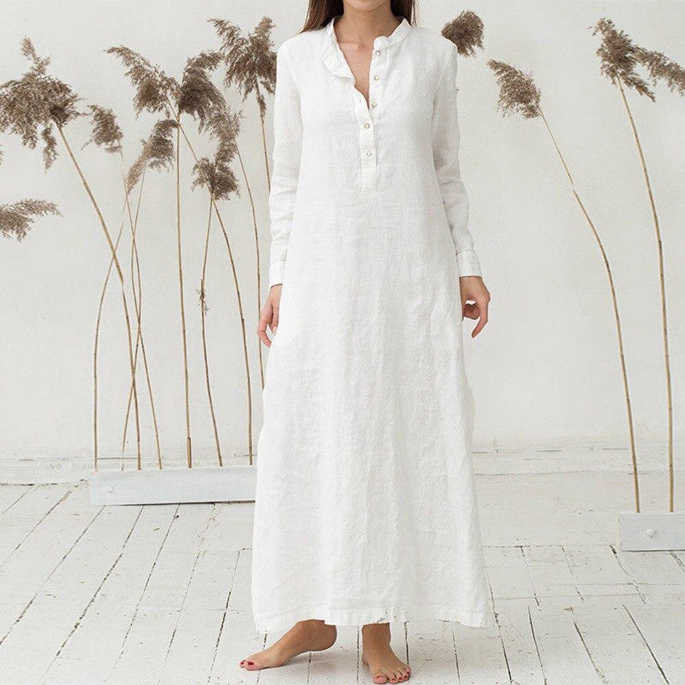Women's Holiday Summer Dress Kaftan Cotton Long Sleeve Plain Casual Oversized Maxi Long Shirt Dress Wear Work Shirts Women #L35 1