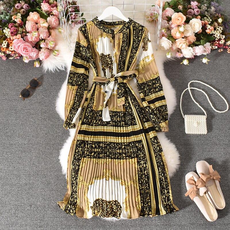 Spring Autumn Women's Pleated Dress Long-sleeved Shirt Dress Korean Retro Ethnic Style Long-sleeved Dress Plus Size Dress GD518 1