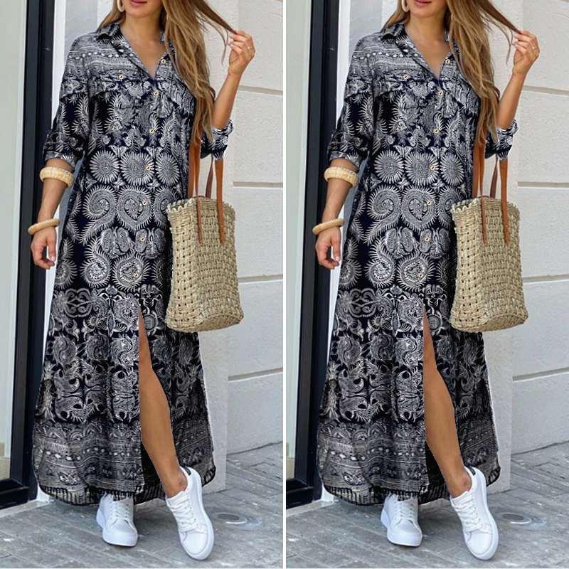 VONDA Women Dress 2020 Summer Vintage Printed Lapel Neck Party Maxi Dress Casual Long Sleeve Shirt Dresses Bohemian Vestidos 5XL 1