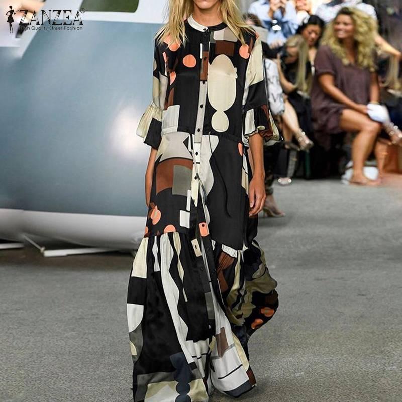 ZANZEA Summer Fashion Printed Party Shirt Dress Short Flare Sleeve Sundress Women Casual Lace-Up Bohemian Long Vestidos Female