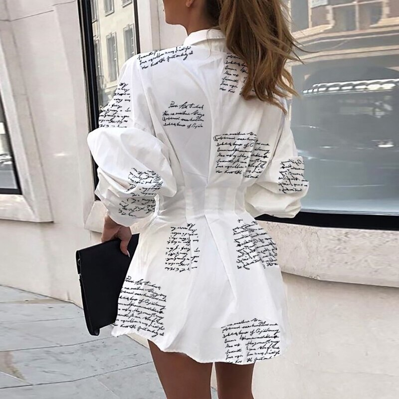 Women Letter Printed Shirt Dress 2020 Autumn Party Dress Lady Office Long Sleeve Shirt Turn-down Collar Slim Waist Button 3