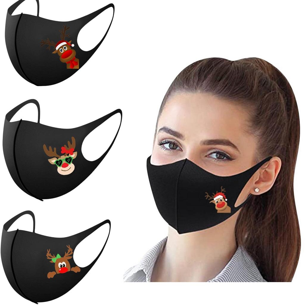 10pcs/5pcs Christmas Face Mask Washable Mouth Fabric Facial Mask For Adult Protection Reusable Santa Pattern Earloop Mouth Caps 1
