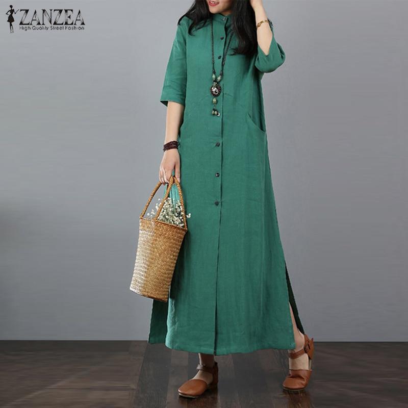 ZANZEA Women Long Maxi Dress Mandarin Collar Long Shirt Dresses Long Sleeve Cotton Linen Vestido Kaftan Button Up Robe Plus Size 2