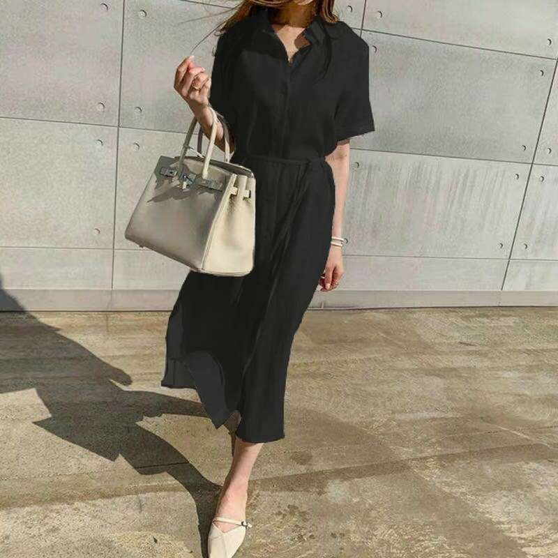 Simple Casual Loose Lapel Women Shirt Dress 2020 Spring Summer Single-Breasted Lace-Up Short Sleeve Female Dress Robe Femme 9948 3