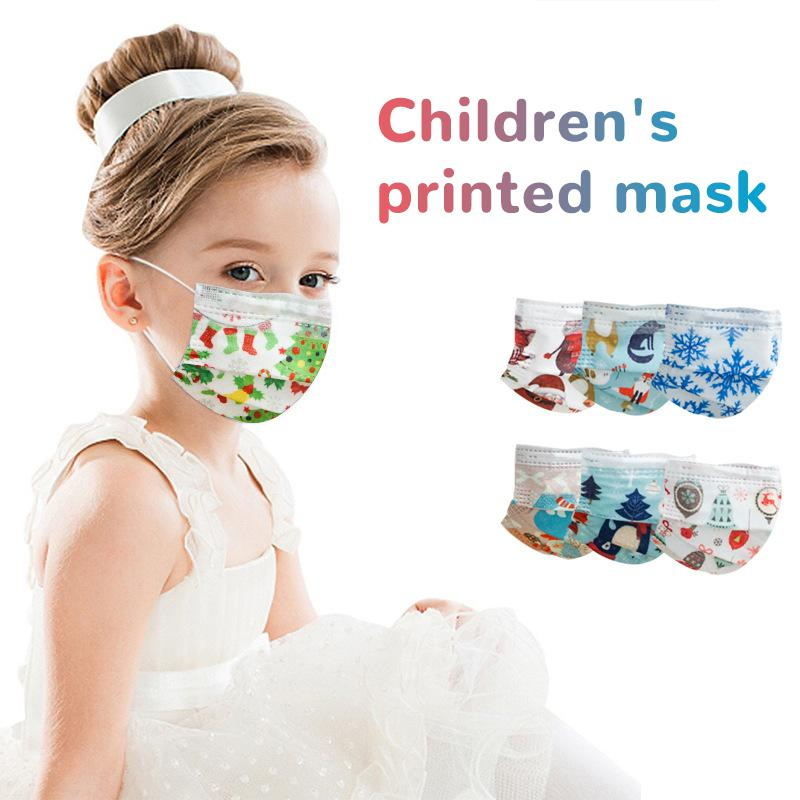 10/50/100pcs Disposable Christmas Face Mask Style Layer 3 Non-woven Fabrics Cartoon Printing Anti-dust Mouth Mask For Kids