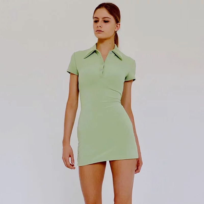 Women Mini Polo Shirt Dress Fitted Mini Dress 1