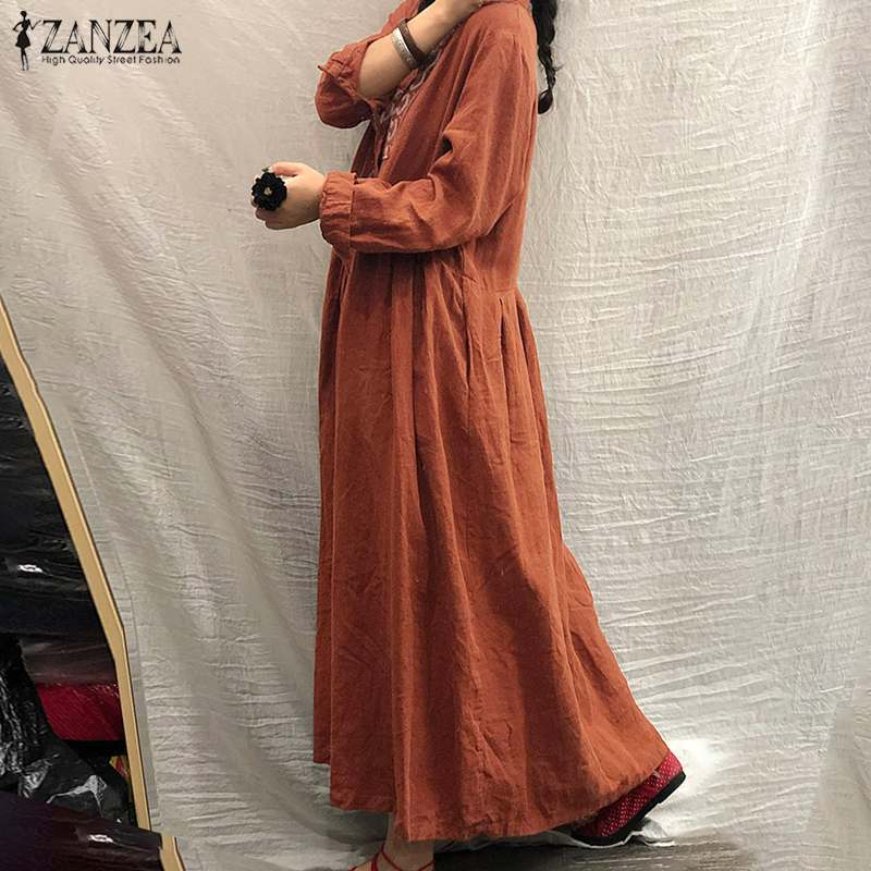 2020 ZANZEA Autumn Long Sleeve Sundress Women Casual Cotton Linen Kaftan Vintage Embroidery Work Long Shirt Dress Female Robe 2