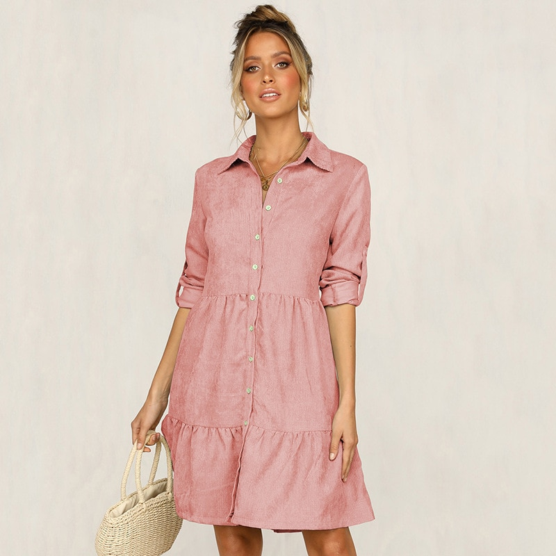 5 Colors 2020 Autumn Dress Women Pink Pleated half sleeve Shirt dress Female Ruffles Casual loose ladies Solid Winter Dresses 1