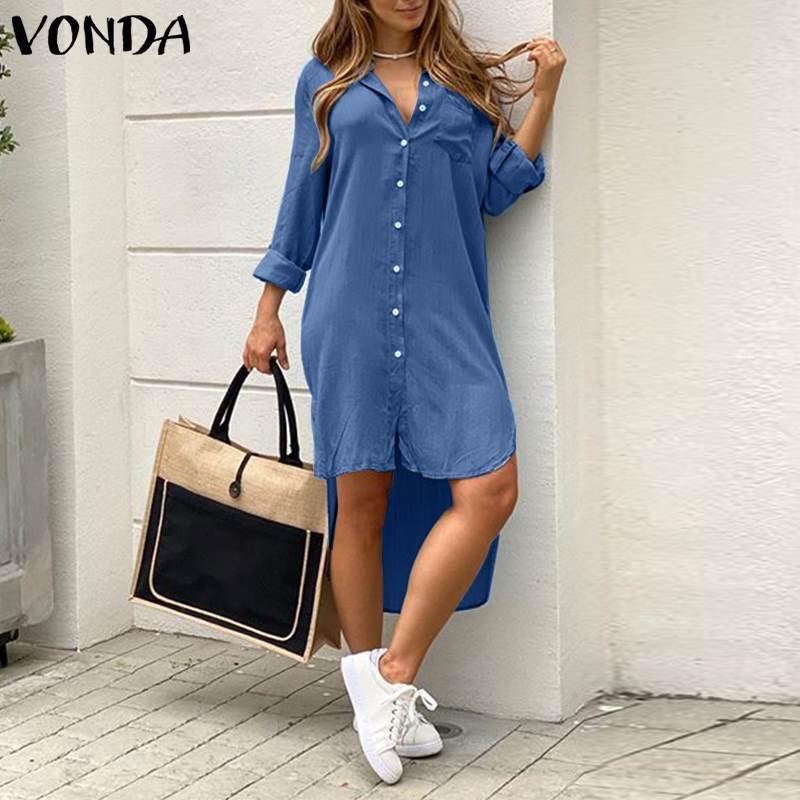 Loose Party Robe Asymmetric Shirt Dress VONDA Women Lapel Dress Autumn Fashion Solid Demin Dress Summer Sundress Bohemian Dress 4