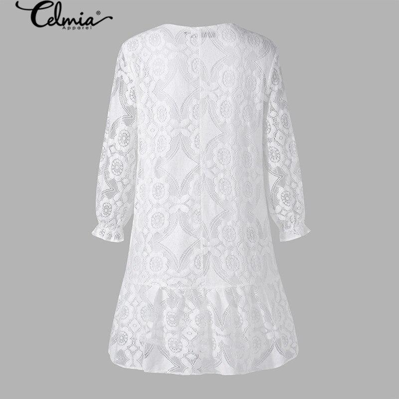 2020 Bohemian Lace Women Summer Dress Celmia Fashion Vintagr Sundress Female Casual V Neck Mini Vestidos Party Shirt Robe S-5XL 3