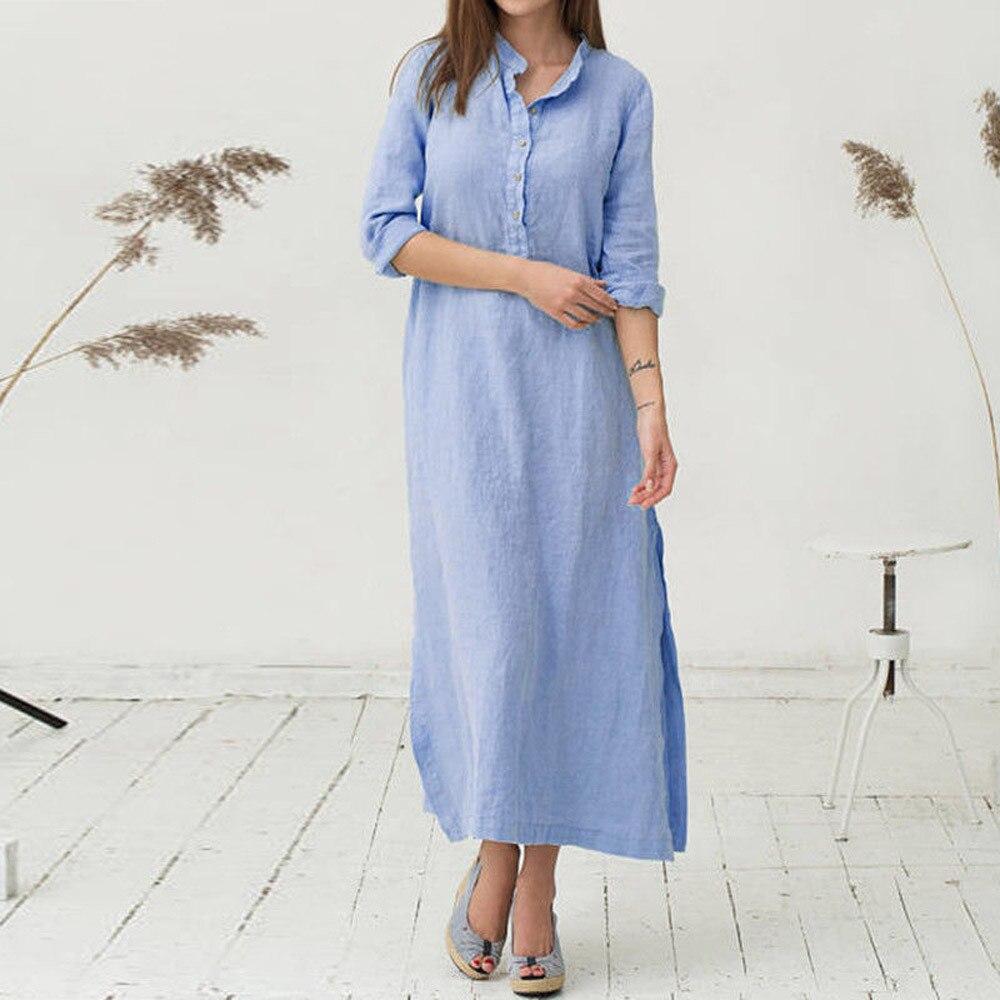 Women's Holiday Summer Dress Kaftan Cotton Long Sleeve Plain Casual Oversized Maxi Long Shirt Dress Wear Work Shirts Women #L35 2