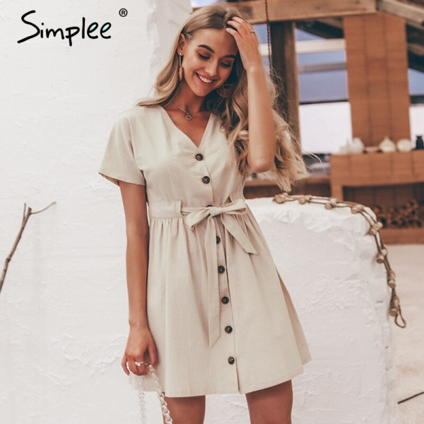 Simplee Classic buttons ladies costume shirt V neck