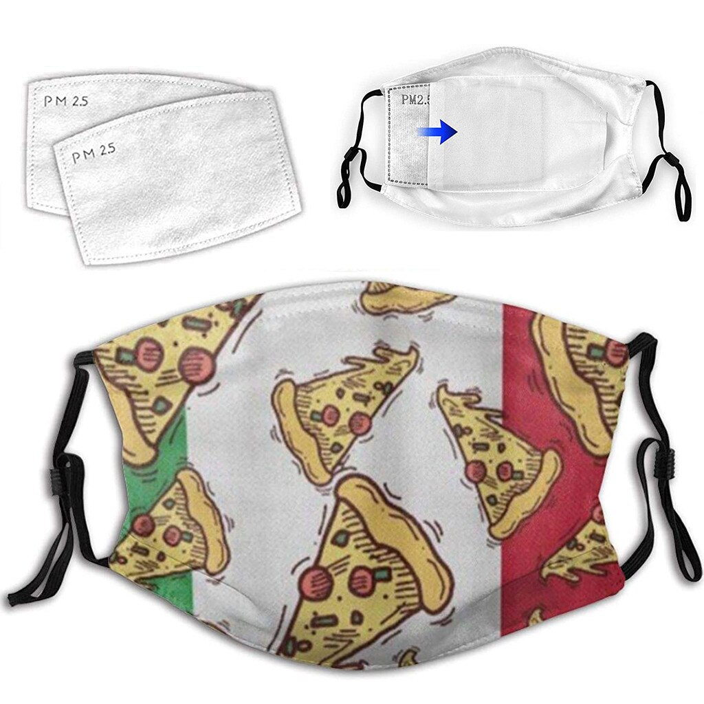 Christmas Face Mask Adult Washable 3D Pizza Food Print Mouth Face Cover Reusable Mask Mascarillas Breathable Face Mask Máscara 1