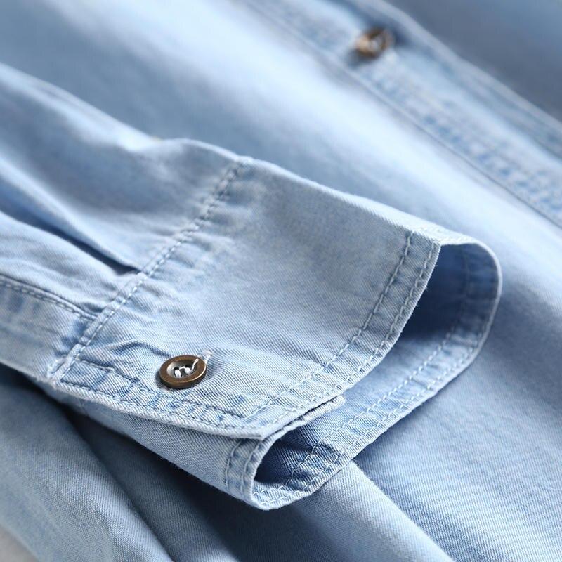 Oversized Jeans Shirt Dress Women Clothes Vestidos Casual Solid Denim Dress Female Elegant Vintage Shirt Dress Robe Femme Q2640 4