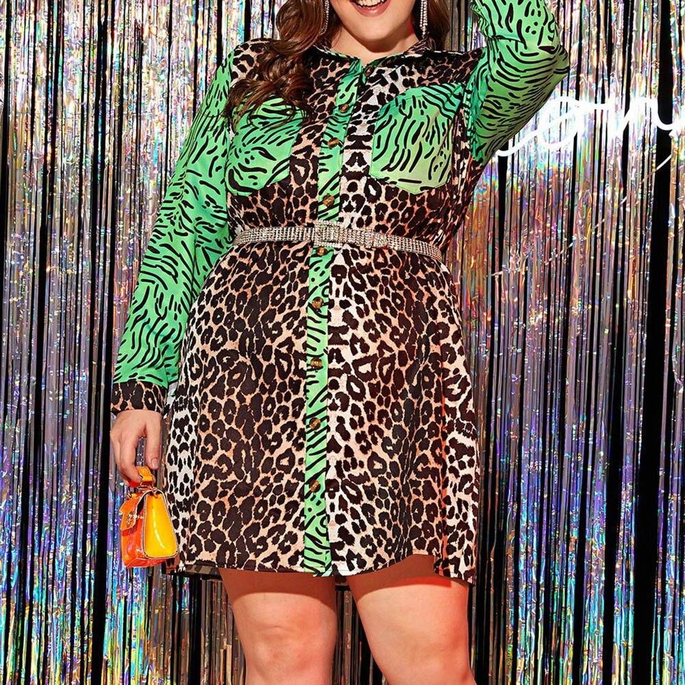 Leopard Printed Women Dress Autumn 2020 African Turn Down Collar Long Sleeve Plus Size Dress Vestiods Robe Shirt Dresses 4