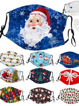 Face Masks Grownup Christmas Print Adjustable Washable