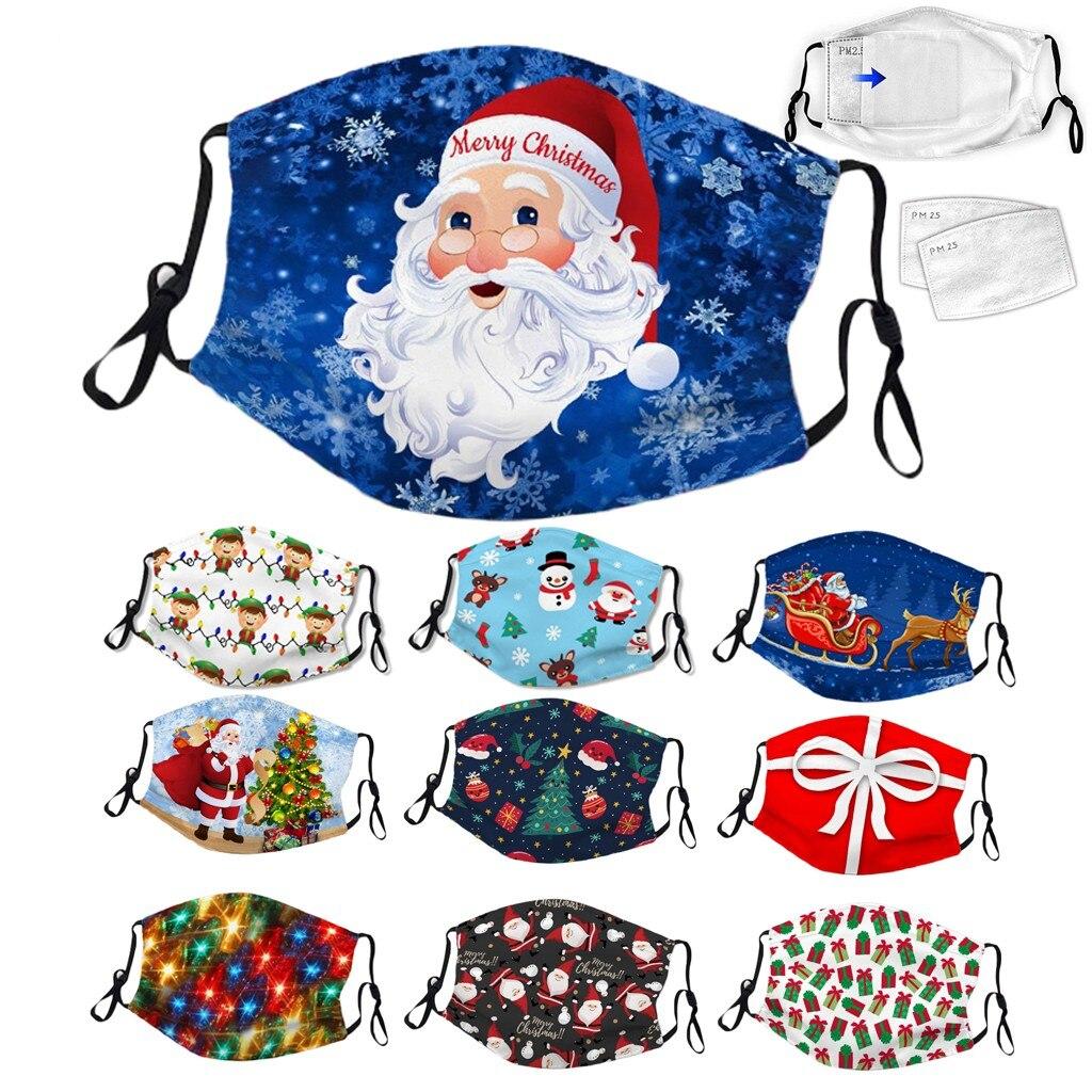 Christmas Face Mask Adult Christmas Print Adjustable Washable Breathable Face Mask+ 2pc Filter Mascarillas mondkapjes wasbaar