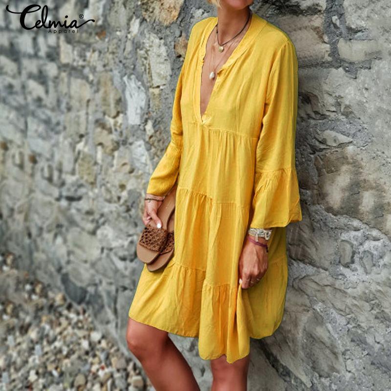 Celmia Bohemian Women Sexy Mini Dress Ladies V neck Flare Sleeve Casual Loose Pleated Long Shirt Vestidos Plus Size Sundress 5XL 2