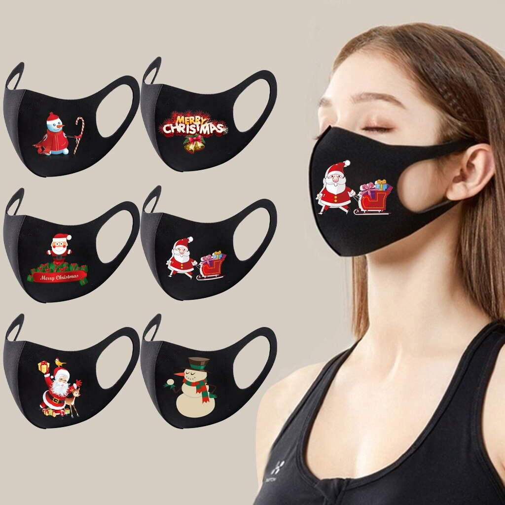 1pc Adult Christmas Face Mask Washable Mouth Fabric Facial Mask For Protection Reusable Santa Earloop Mouth Caps Маска Masques