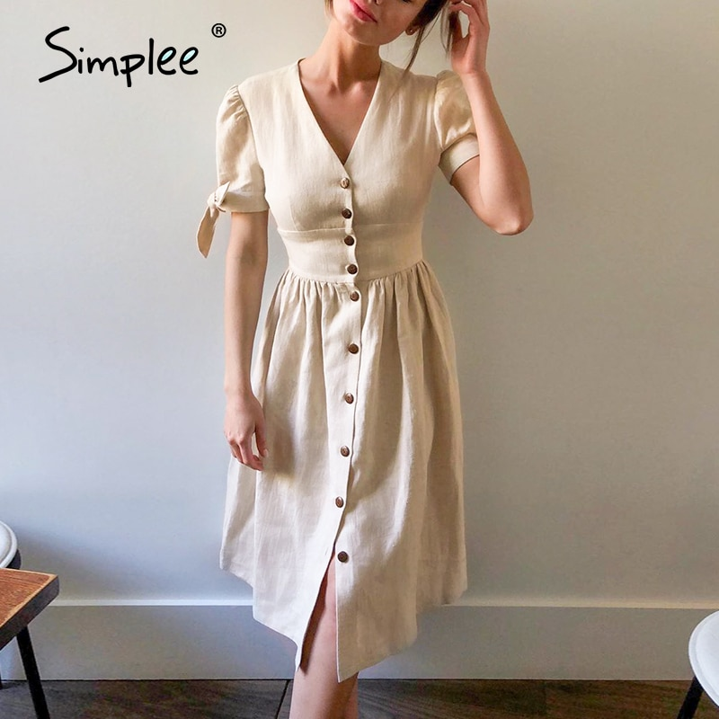 Simplee Vintage buttons women dress shirt V neck short sleeve cotton linen short summer office dresses Casual korean vestidos 2
