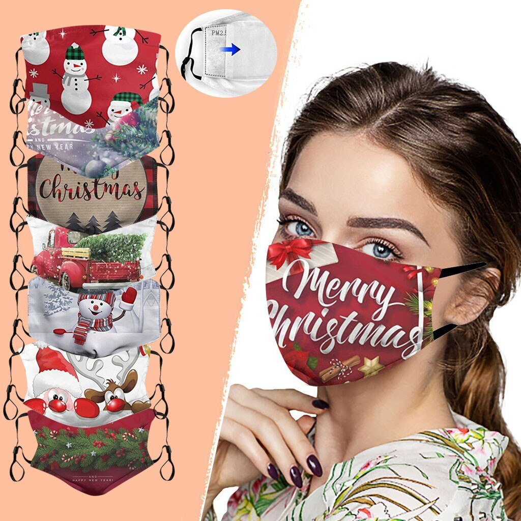 1Mask + 2Filters Christmas Face Mask Washable Proof Portcet Face Mouth Cover Outdoor Home With Adjustable Ear Rope Mask