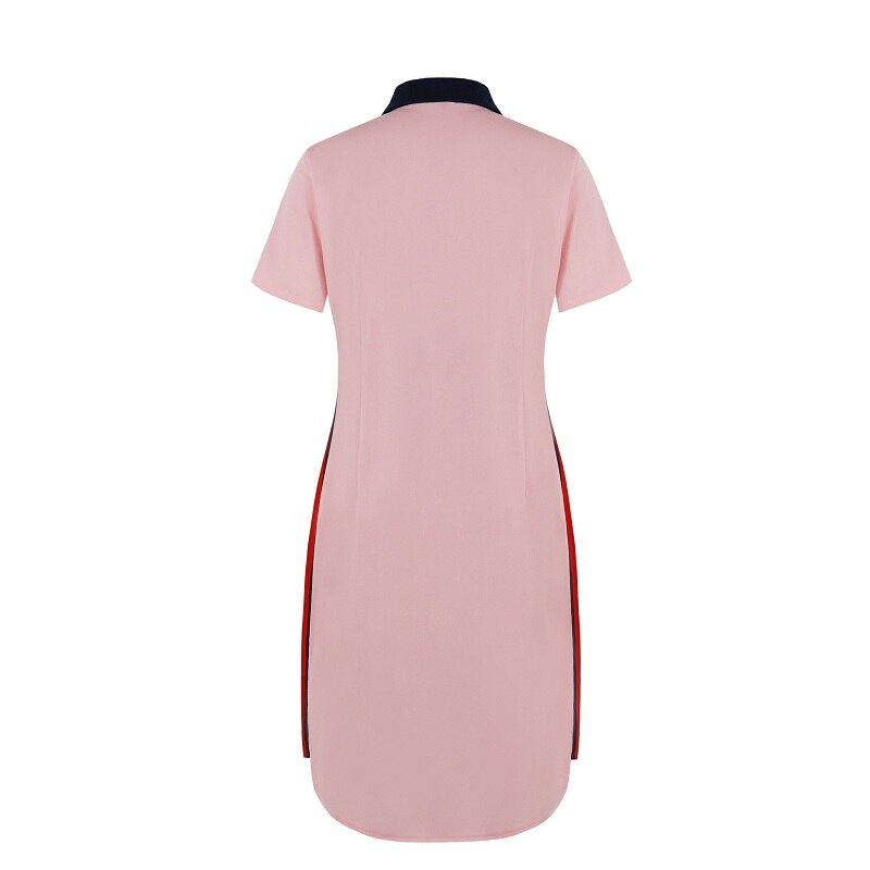 Fashion Brand Women Polo Dress T Shirt Short Sleeve Summer Elegant Patchwork Female Pink Dark Red Casual Plus Size 6XL Vestidos 2