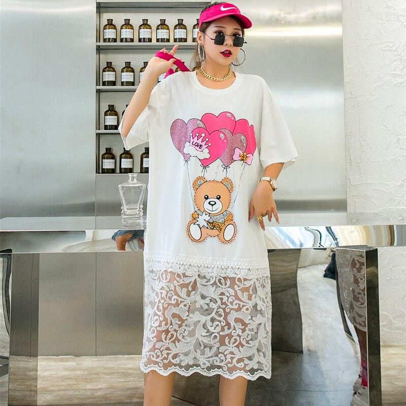 QING MO Loose Women Cartoon Dress With Beading Women Mesh Patchwork Dress Female Summer T Shirt Dress Black White ZQY4364 3