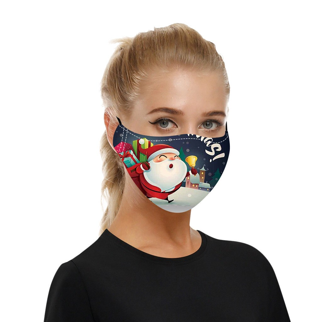 Adult Christmas Face Mask Washable Reusable Mouth-macks Adjustable Dust-Proof Protective Mask Cotton Mouth Cover mascarilla 3