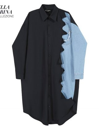 Autumn Black Shirt Gown Denim Patchwork Plus