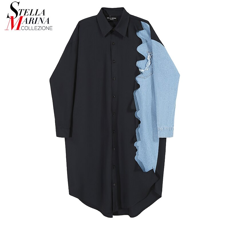 New Woman Full Sleeve 2020 Autumn Black Shirt Dress Denim Patchwork Plus Size Midi Ladies Loose Fit Casual Dress Style Robe 6656