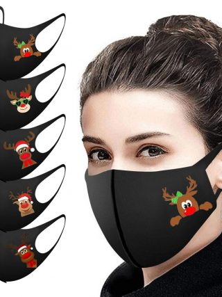 5/10/25PCS Grownup Christmas Face Masks Washable